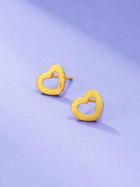 affordable Golden Textured Heart Shape Stud Earrings - GOLDEN