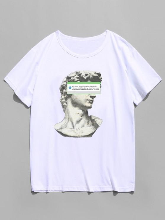 Kurzarm Skulptur Druck T-Shirt - Weiß M