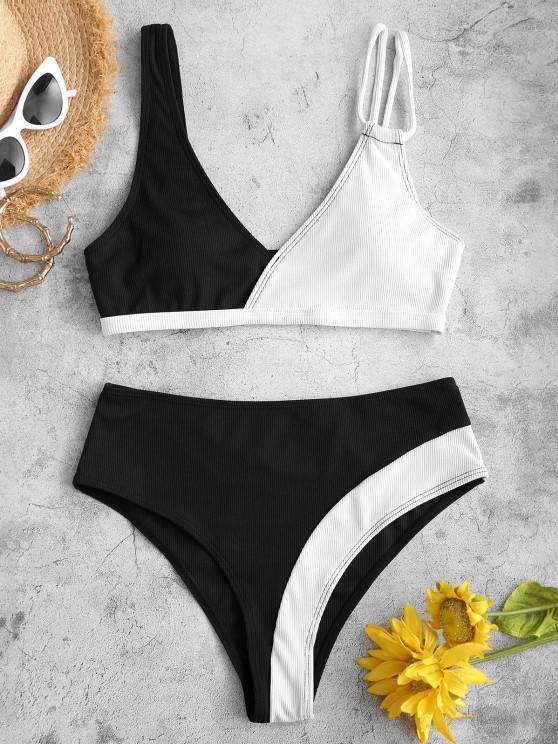 affordable ZAFUL Ribbed Two Tone Plunging Bikini Swimwear - BLACK S