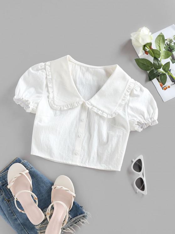 fancy ZAFUL Ruffle Puff Sleeve Puritan Collar Crop Blouse - WHITE L