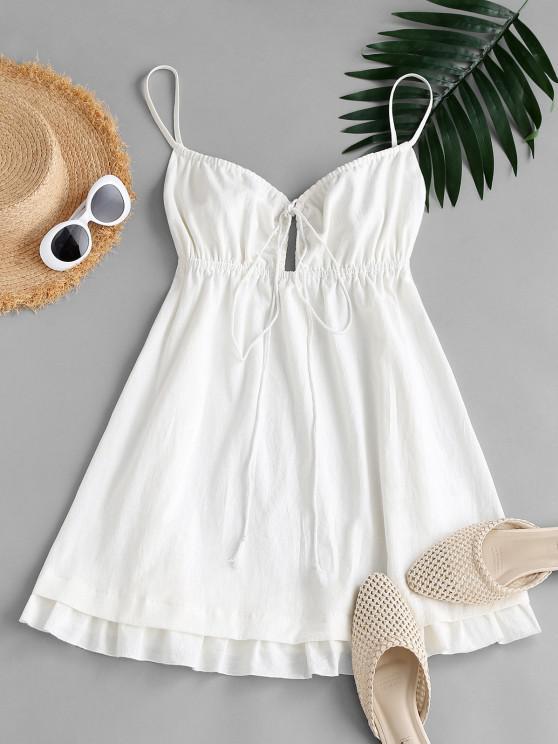 fashion ZAFUL Flounce Front Tie Mini A Line Dress - WHITE XL