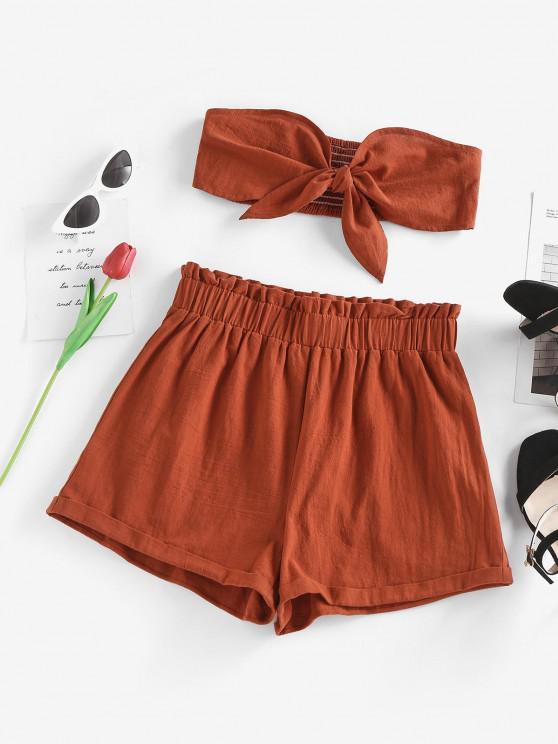 buy ZAFUL Bandeau Ruffle Shirred Tied Shorts Set - RED M