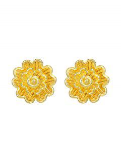 Layers Flower Gold Plated Stud Earrings - Golden