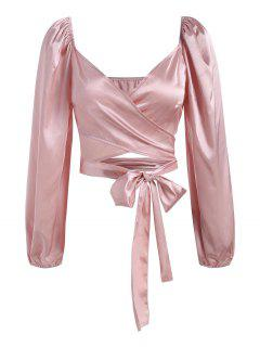 Satin Puff Sleeve Crop Wrap Blouse - Light Pink M