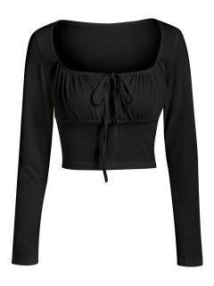 ZAFUL Keyhole Ruched Bust Crop T Shirt - Black Xl