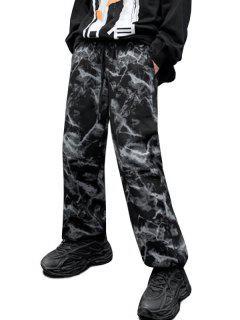 Pantalon Bouclée Teinté Imprimé à Jambe Large à Cordon - Noir Xs