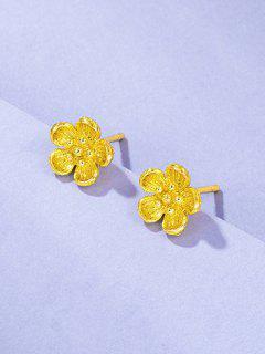 レトロな花柄ゴールドメッキイヤリング - ゴールデン