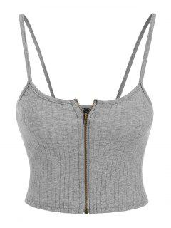 ZAFUL Ribbed Zip Front Crop Camisole - Ash Gray S