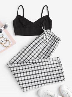 Ribbed Cami Top And Plaid Two Piece Pants Set - Black S