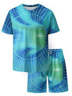 Ensemble De T-shirt Lettre Imprimée Partout Et De Short Deux Pièces - Turquoise Xl