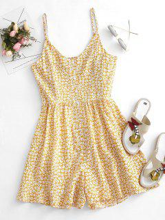 Floral Ruffle Smocked Button Placket Wide Leg Romper - Light Yellow S