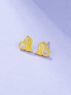 Ingenious Hollow Out Heart Shape Stud Earrings - Golden