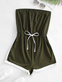 Colorblock Bowknot Loose Tube Romper - Deep Green M