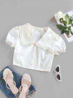 ZAFUL Ruffle Puff Sleeve Puritan Collar Crop Blouse - White S