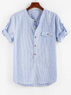 ZAFUL Stripe Print Half Button Pocket Shirt - Blue M
