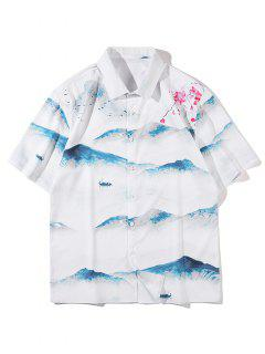 Mountain Floral Landscape Print Shirt - White M