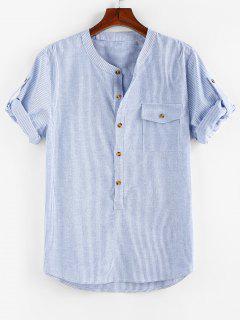 ZAFUL Stripe Print Half Button Pocket Shirt - Blue S