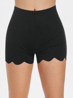 High Waisted Scalloped Skinny Mini Shorts - Black M