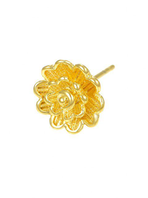 Layers Flower Gold Plated Stud Earrings - ذهبي  Mobile