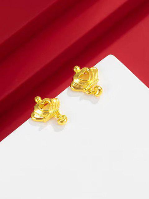 best Crown Hollow Heart Stud Earrings - GOLDEN  Mobile
