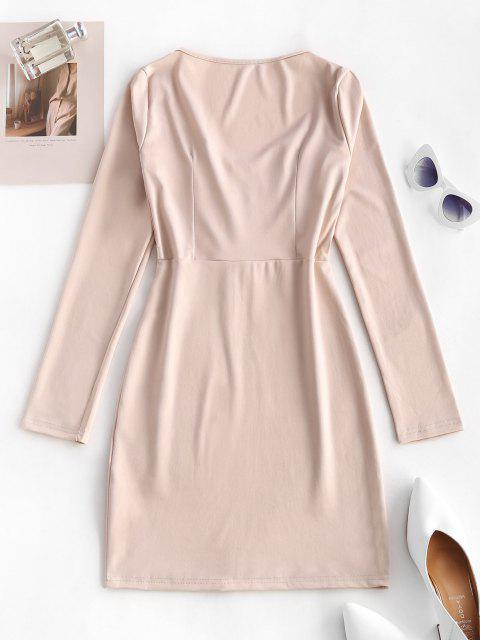 outfit Hook Placket Sweetheart Bodycon Mini Dress - LIGHT COFFEE L Mobile