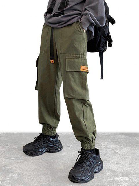 Klappe Taschen Patch Cargo Hose - Dunkelgrün S Mobile