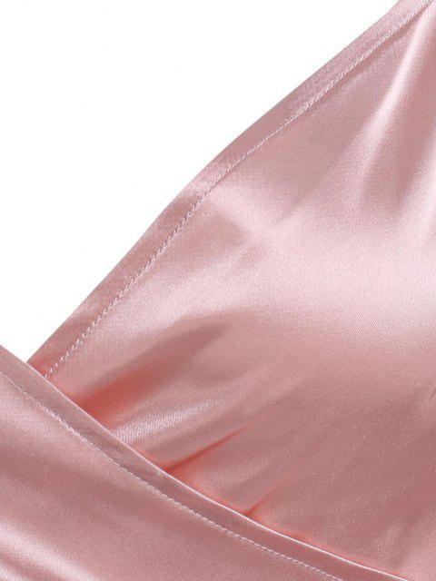 online Satin Puff Sleeve Crop Wrap Blouse - LIGHT PINK M Mobile