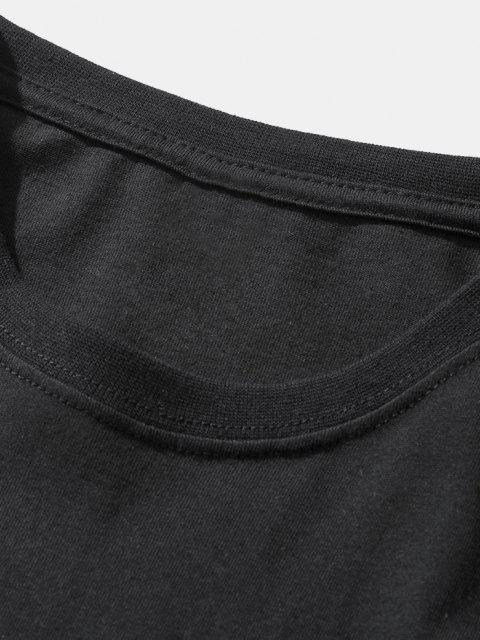 fancy Dinosaur Game Slogan Short Sleeve Basic T-shirt - BLACK XL Mobile