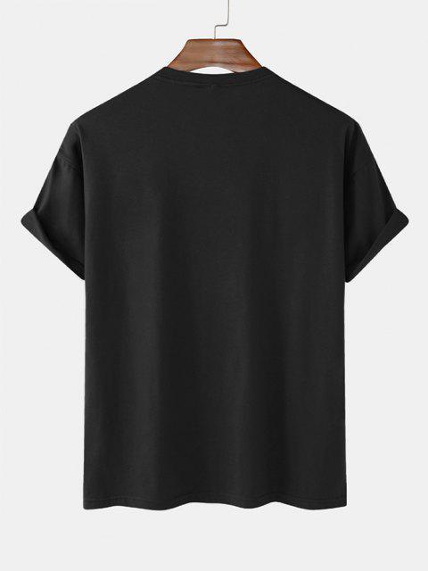 trendy Dinosaur Game Slogan Short Sleeve Basic T-shirt - BLACK XXL Mobile