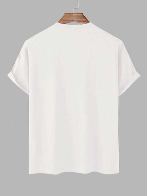 Dinosaur Game Slogan Short Sleeve Basic T-shirt - أبيض XL Mobile