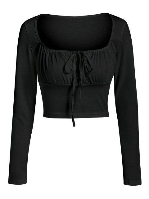 ZAFUL Gerafftes Frauen Schlüsselloch T-Shirt - Schwarz XL Mobile