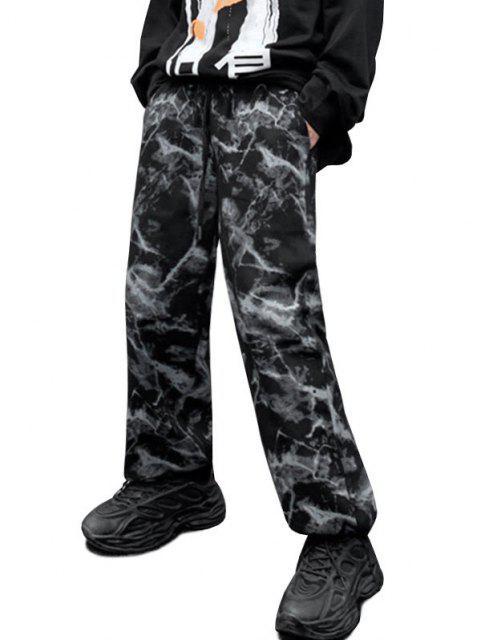 womens Tie Dye Print Toggle Drawstring Wide Leg Pants - BLACK M Mobile