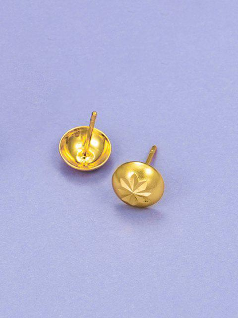 buy Retro Engraved Floral Stud Earrings - GOLDEN  Mobile