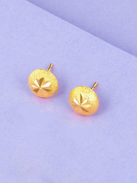 Engraved Matte Button Gold Plated Earrings - ذهبي  Mobile