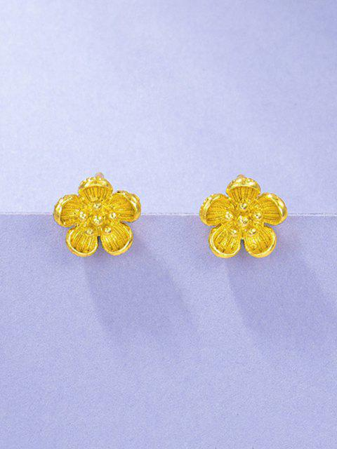 Retro Floral Gold Plated Earrings - ذهبي  Mobile