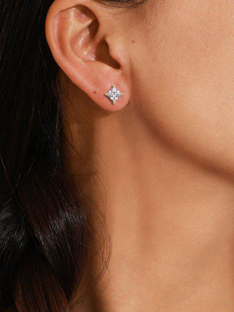 ladies Geo Zircon Inlaid Stud Earrings - GOLDEN  Mobile