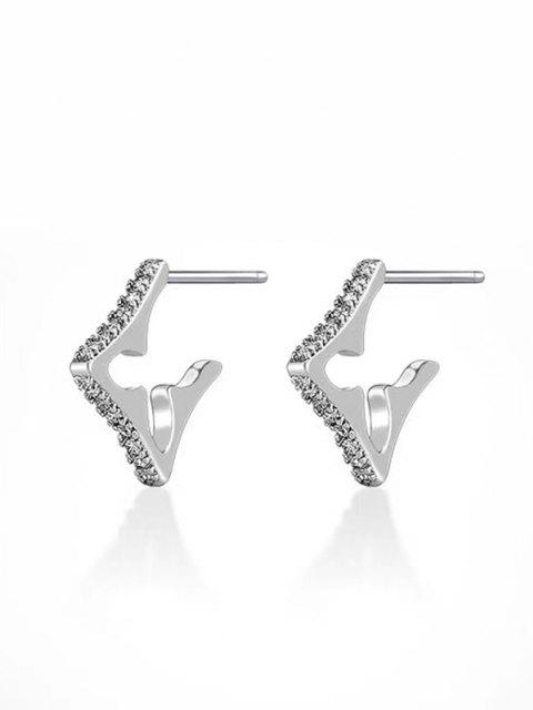 Geometric Shape Stud Earrings - فضة  Mobile