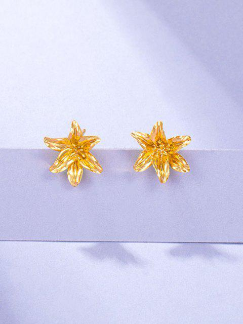 Carved Flower Gold Plated Earrings - ذهبي  Mobile