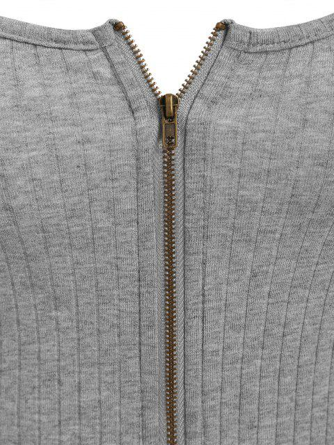 chic ZAFUL Ribbed Zip Front Crop Camisole - ASH GRAY M Mobile