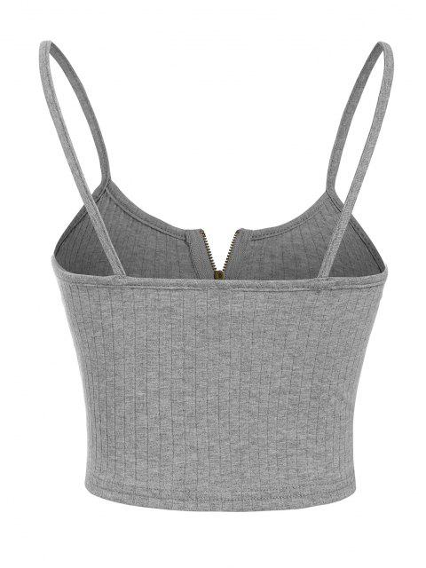 unique ZAFUL Ribbed Zip Front Crop Camisole - ASH GRAY S Mobile