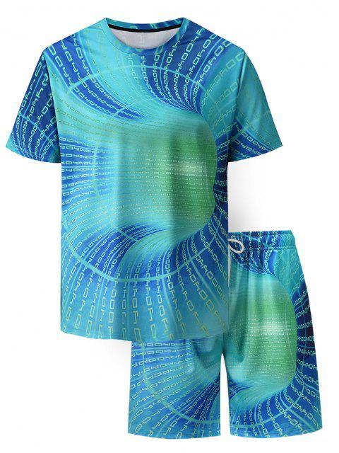 unique Letter Allover Print T-shirt And Shorts Two Piece Set - TURQUOISE M Mobile