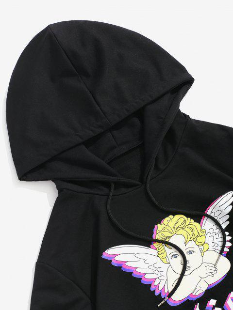 ladies Angel Believe Graphic Hoodie - BLACK L Mobile