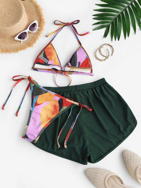 women ZAFUL Ribbed Graffiti Three Piece Tanga String Bikini Swimwear - DEEP GREEN S Mobile