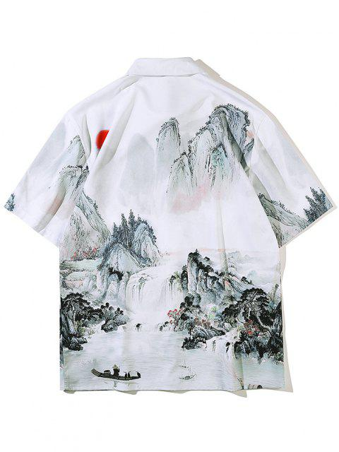 ladies Chinese Ink Painting Landscape Print Short Sleeve Shirt - WHITE L Mobile