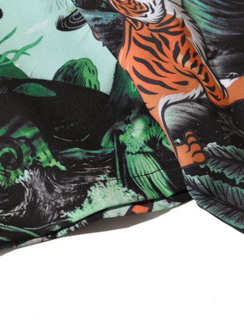 Tiger Pflanzen Pilzdruck Urlaub Hemd - Mittleres Meer Grün 2XL Mobile