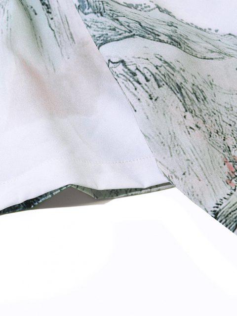 latest Chinese Ink Painting Landscape Print Short Sleeve Shirt - WHITE M Mobile
