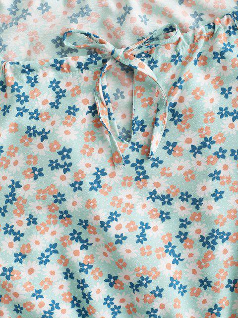 Mono Femenino Suelto Floral Ojo de Cerradura - Verde claro M Mobile