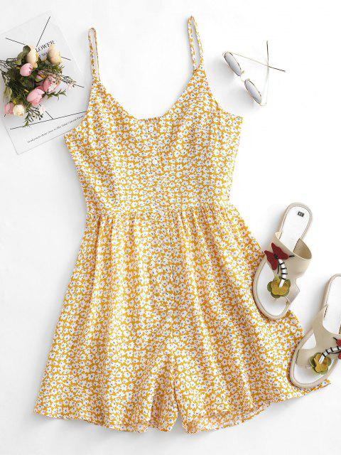women Floral Ruffle Smocked Button Placket Wide Leg Romper - LIGHT YELLOW M Mobile