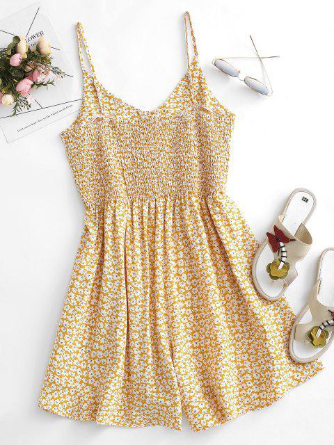 Mono Femenino de Pierna Ancha con Volantes de Flores con Botones - Amarillo claro S Mobile