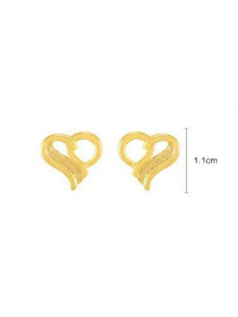 unique Ingenious Hollow Out Heart Shape Stud Earrings - GOLDEN  Mobile